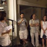 Angela Bonfante, discursando sobre o desenvolvimento da festa
